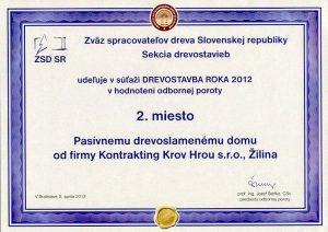 Kontrakting Drevostavba roka - 2012 Melčice