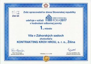 Kontrakting Drevostavba roka - 2017 Záhorské sady