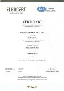 Certifikát ISO 9001:2015 Týmto certifikátom je deklarované zavedenie systému manažérstva kvality  pre navrhovanie a výrobu drevených konštrukcií a stavieb
