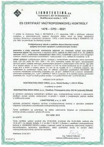 SK CERTIFIKÁT SK04-ZSV-1892 O zhode systému riadenia výroby drevených rámových prefabrikovaných zostáv KG-1-13-00